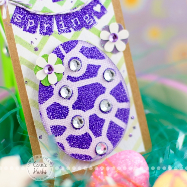 Connie Hanks Photography // ClickyChickCreates.com // Happy Spring Tag using The Crafter's Workshop and Heidi Swapp stencils, embossing, Distress Inks, ombre effect, old stash, bling, Sweet Stamp Shop alpha tabs stamps