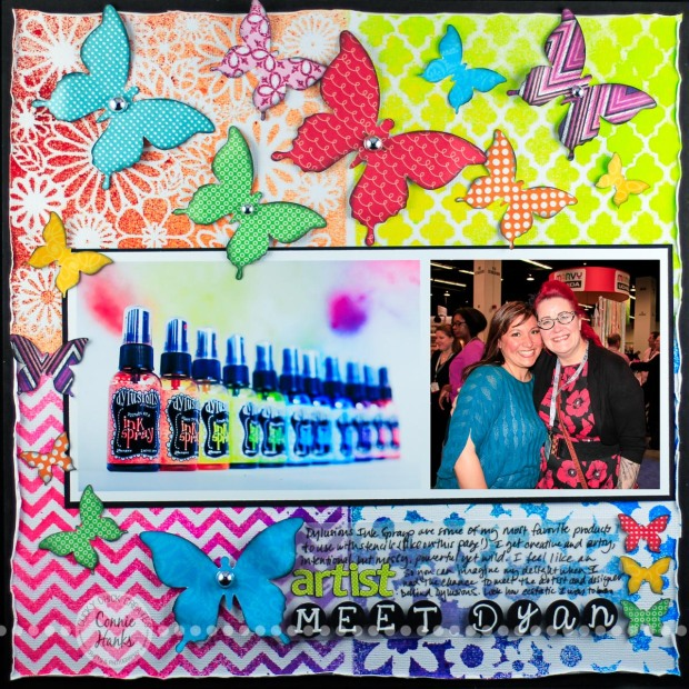 Connie Hanks Photography // ClickyChickCreates.com // Meet Dyan layout using The Crafter's Workshop and Heidi Swapp stencils, Dylusions Spray Inks, butterflies, vellum