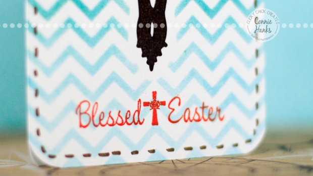 Connie Hanks Photography // ClickyChickCreates.com // Blessed Easter card with Heidi Swapp chevron stencil, Distress Inks and heat embossing