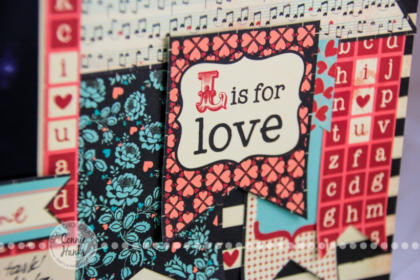 ClickyChickCreates.com // It Had to Be You (wedding song) scrapbook layout using black and white photo with black, cream, red, teal patterned papers, banner embellishments