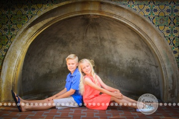 Connie Hanks Photography // ClickyChickCreates.com // Siblings, kids, photos, pre-tween, Balboa Park, spring, peach, blue, boy, girl,