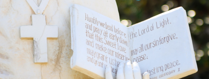 Connie Hanks Photography // ClickyChickCreates.com // Saint Gregory the Great Pope statue and quote