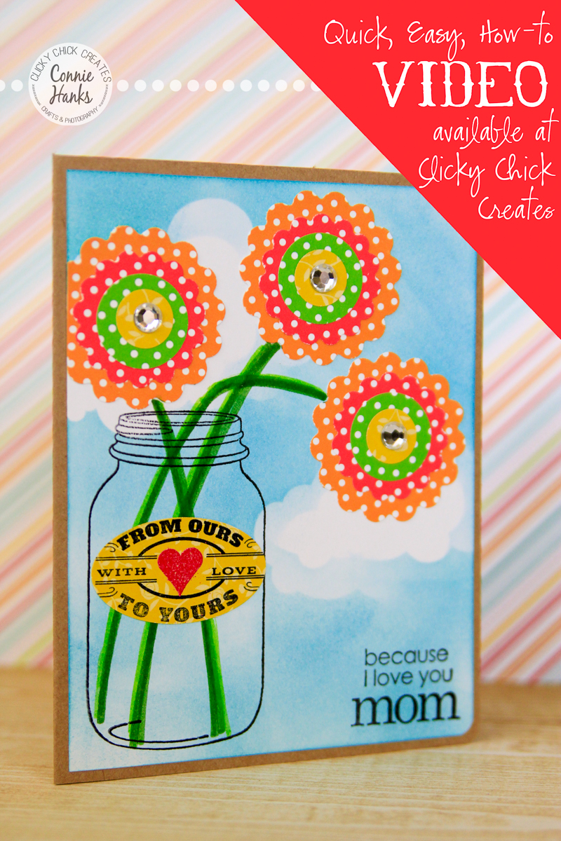 ClickyChickCreates.com // Mother's Day card using Hero Arts stencil / mask, Tim Holtz distress ink in Broken China, punches, embossing, stamping and more!
