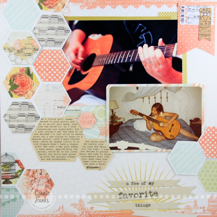 ClickyChickCreates.com // It's a Musical Life scrapbook layout using My Mind's Eye Follow Your Heart paper collection