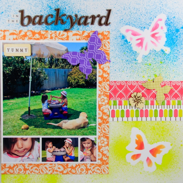 ClickyChickCreates.com // Smoothies in the Backyard (everyday moments / real life) scrapbook layout using 9 photos, spray misting, masks, stencils, butterflies, flowers, wood veneers