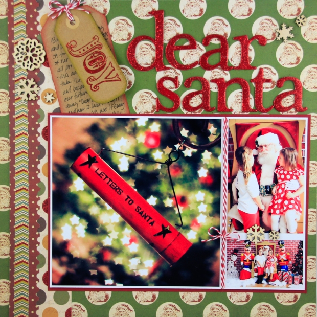 Connie Hanks Photography // ClickyChickCreates.com // Dear Santa layout using My Mind's Eye Vintage Christmas papers, tags, embossing, kraft tags, twine, wood veneer snowflake embellishments