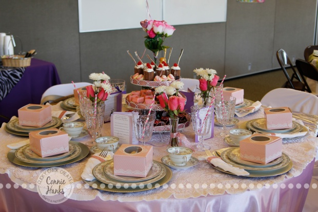 Connie Hanks Photography // ClickyChickCreates.com // sweet tablescape featuring handmade sweet treats, fresh flowers, mini root beer floats, cameo chocolate covered strawberries, cameo cupcakes