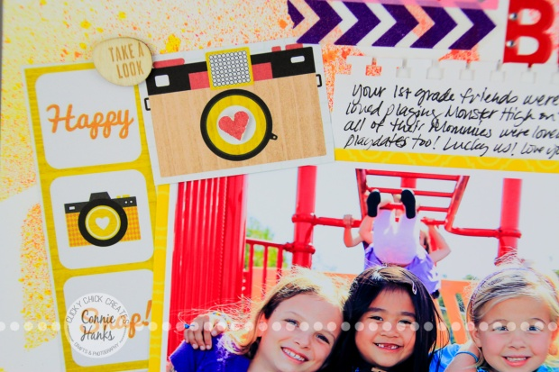 ClickyChickCreates.com // Playground Besties (everyday moments / real life) scrapbook layout using spray misting, masks, stencils, cameras, arrows, hearts, washi tape