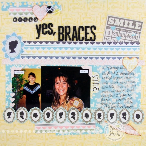 ClickyChickCreates.com // Yes, Braces scrapbook layout about a girl who wanted braces!