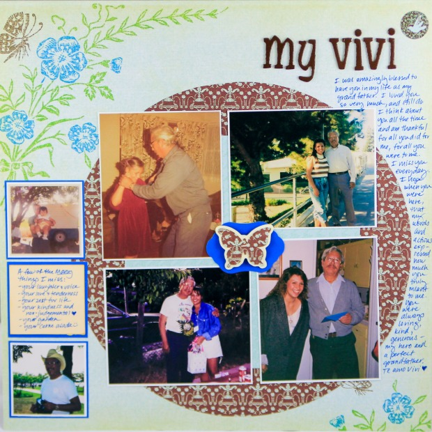 ClickyChickCreates.com // My Vivi grandfather layout featuring 6 photos throughout the years