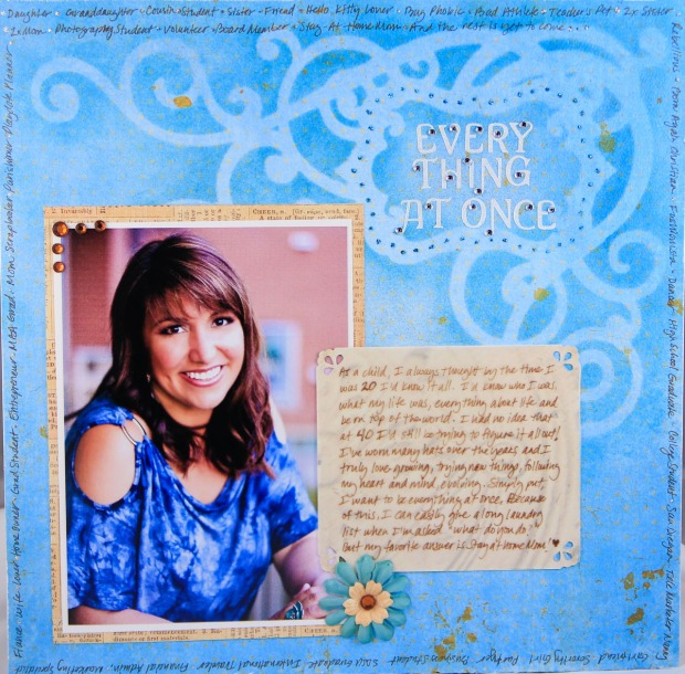 ClickyChickCreates.com // Everything at Once scrapbook layout with stencil, inks, story about myself