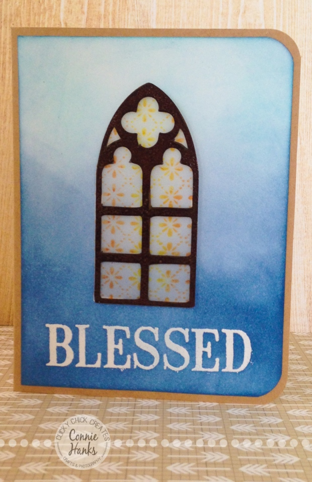 "ClickyChickCreates.com // Blessed card with ""stained glass"" window"