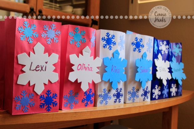 ClickyChickCreates.com // FROZEN party snowflake goodie bags