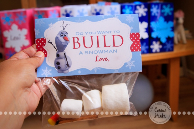 "ClickyChickCreates.com // FROZEN ""do you want to build a snowman"" party goodie bags, marshmallows, pretzels, chocolate chips, candy corn"