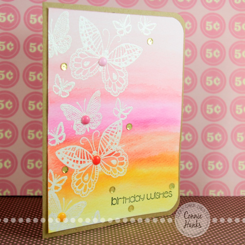ClickyChickCreates.com // Watercolor Butterflies using embossing with Tim Holtz Distress Inks
