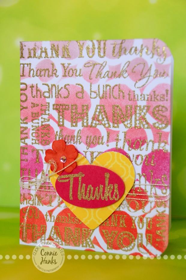 ClickyChickCreates.com // Thank You card using stencil, embossing, Distress Inks, stamping, blending and more!