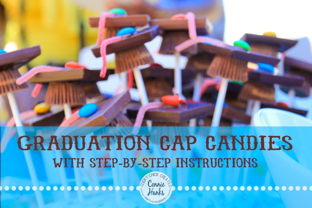 ClickyChickCreates.com // graduation cap candies with step-by-step instructions