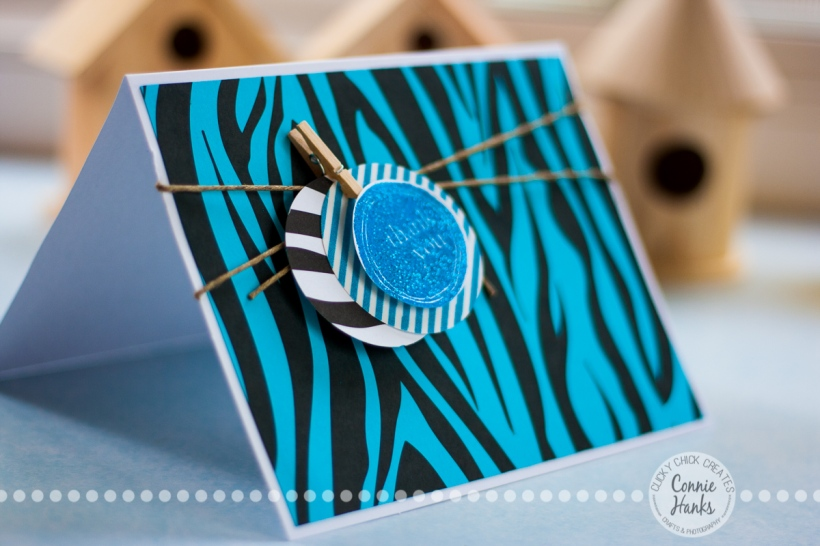ClickyChickCreates.com // Thank You card using zebra print, jute, clothespins and punches