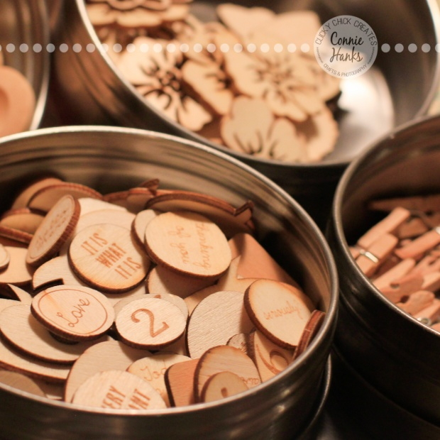 Connie Hanks Photography // ClickyChickCreates.com // spice containers holding crafty wood veneers