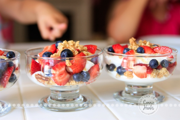 Connie Hanks Photography // ClickyChickCreates.com // breakfast with berries, yogurt, granola, honey