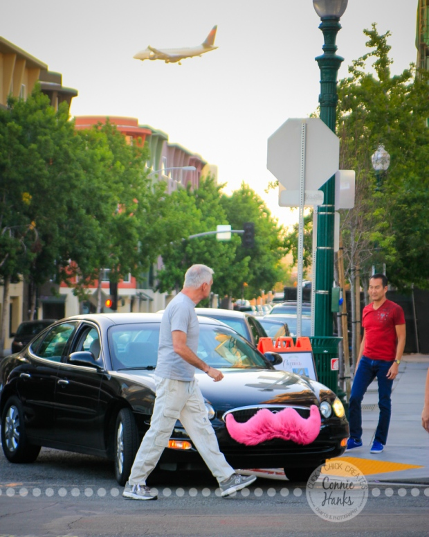 Connie Hanks Photography // ClickyChickCreates.com // street photography, pink, mustache, Little Italy, oddities