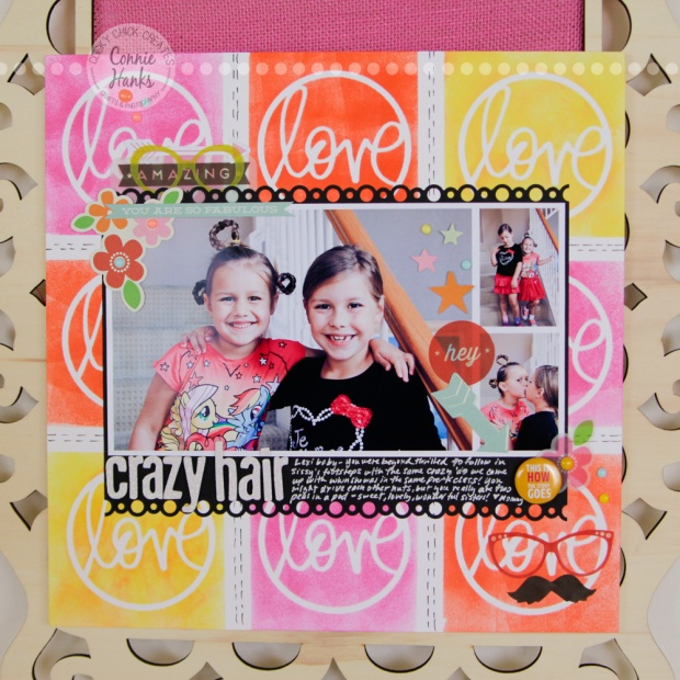 ClickyChickCreates.com // Playground Besties (everyday moments / real life) scrapbook layout distress inks, masks, stencils, love, circle, arrows, hearts, glasses, mustache, Heidi Swapp,