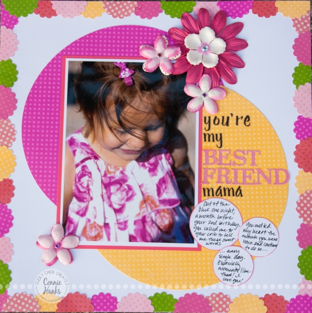 "Connie Hanks Photography // ClickyChickCreates.com // An afternoon at the park, hearing the sweetest words from my sweet baby - ""You're my best friend, mama"" scrapbook layout"