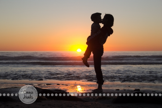 Connie Hanks Photography // ClickyChickCreates.com // Beach Silhouette, mother, son, child, beach, sunset