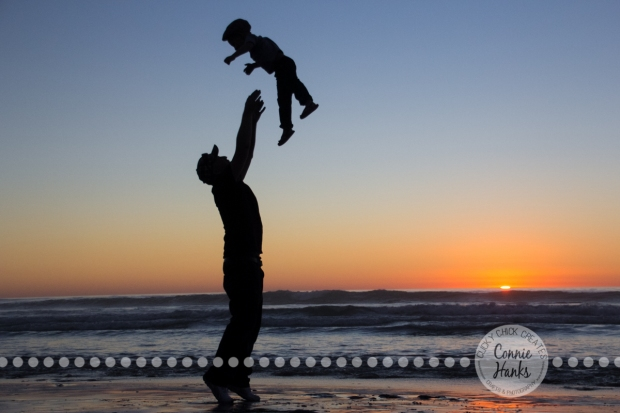 Connie Hanks Photography // ClickyChickCreates.com // Beach Silhouette, father, son, child, beach, sunset