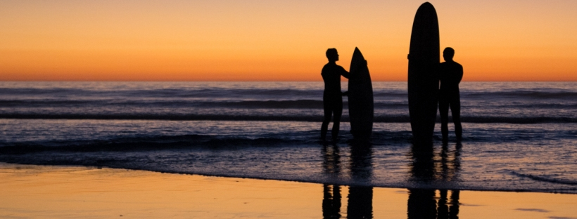 Connie Hanks Photography // ClickyChickCreates.com // Beach Silhouette, surfers, surfboard, reflection, low tide, beach, sunset