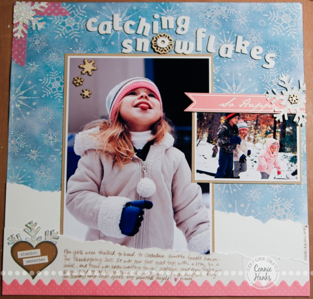 Connie Hanks Photography // ClickyChickCreates.com // Catching Snowflakes scrapbook layout