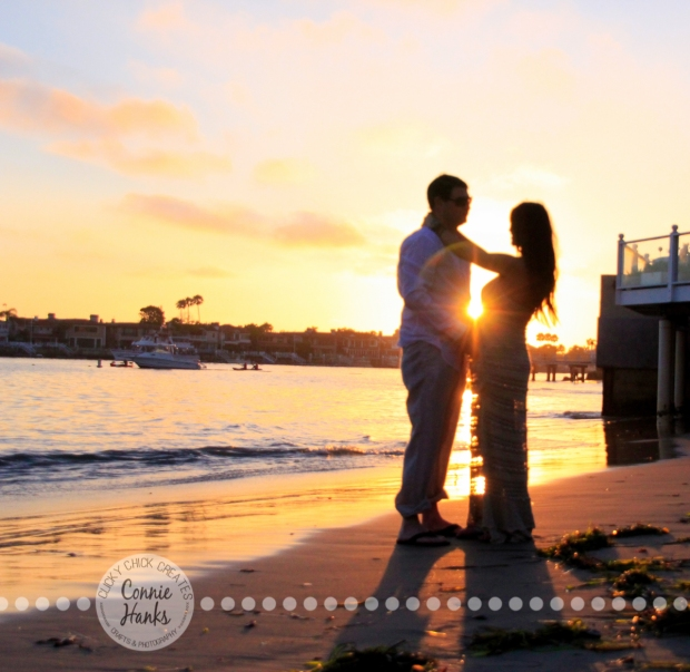 Connie Hanks Photography // ClickyChickCreates.com // Beach Silhouette, mother, father, baby, bump, pregnancy, maternity, couple, beach, sunset