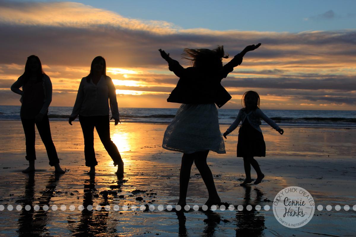 Connie Hanks Photography // ClickyChickCreates.com // Beach Silhouette, mother, kids, family, beach, sunset