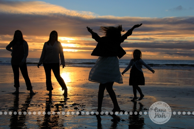 Connie Hanks Photography // ClickyChickCreates.com // Beach Silhouette, mother, kids, family, beach, sunset