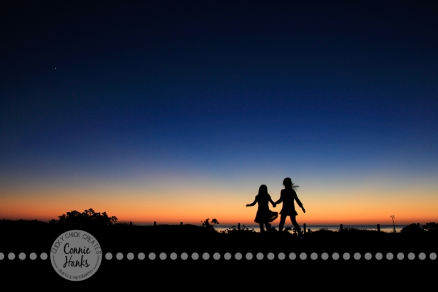 Connie Hanks Photography // ClickyChickCreates.com // Beach Silhouette, sisters, daughters, girls, kids, beach, sunset