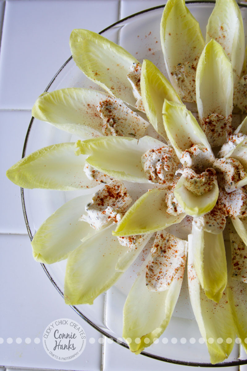 Connie Hanks Photography // ClickyChickCreates.com // Endive and goat cheese appetizer, fanned out