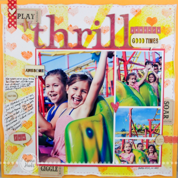 "Connie Hanks Photography // ClickyChickCreates.com // ""Thrill Seekers"" scrapbook layout - an afternoon at the county fair!"
