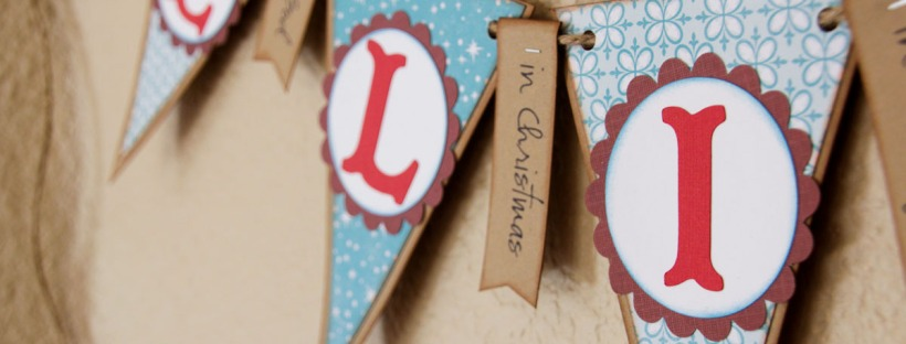 Connie Hanks Photography // ClickyChickCreates.com // Christmas banner, Believe in..., blue, burgundy, red, kraft, brown