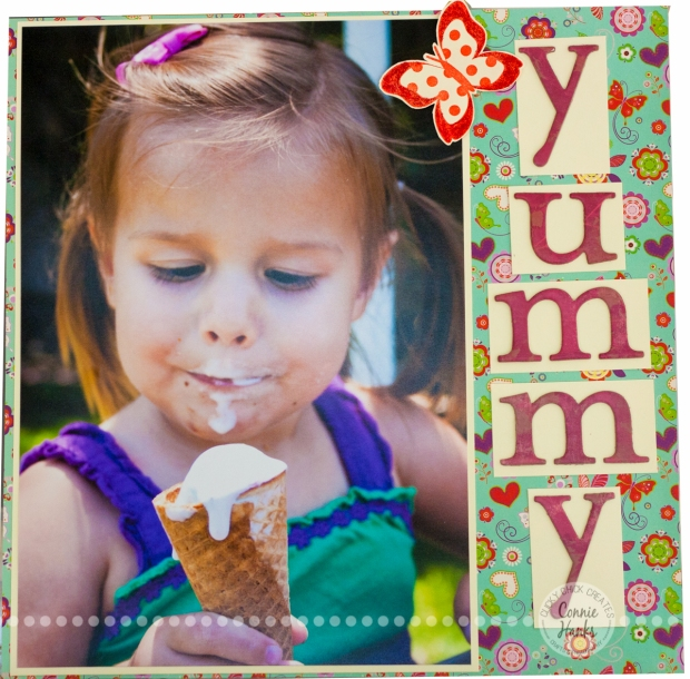 Connie Hanks Photography // ClickyChickCreates.com // Yummy Ice Cream! scrapbook layout