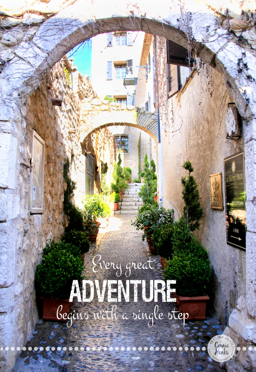 Connie Hanks Photography // ClickyChickCreates.com // Every great Adventure begins with a single step, St Paul, France, medieval village