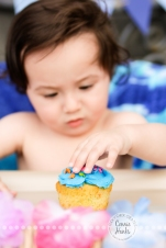 Connie Hanks Photography // ClickyChickCreates.com // First birthday cake smash, cupcake, fish, waves