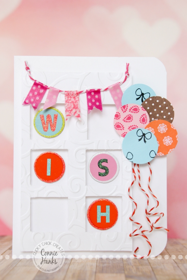 Connie Hanks Photography // ClickyChickCreates.com // WISH birthday card, door, banner, balloons, entry, fusion, challenge