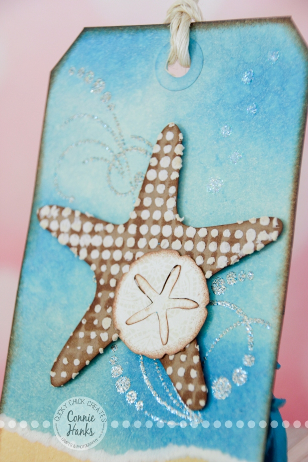 Connie Hanks Photography // ClickyChickCreates.com // Beach inspired tag, blending, embossing, stencils, templates, texture, modeling paste, stamping, punching, distressing and more!