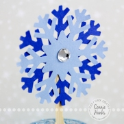Connie Hanks Photography // ClickyChickCreates.com // Snowflake Cupcake Toppers, stitched snowflakes, variations, stamping, punches, die cut