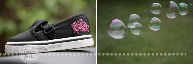 Connie Hanks Photography // ClickyChickCreates.com // Diptych - Run like the Wind! shoes and bubbles
