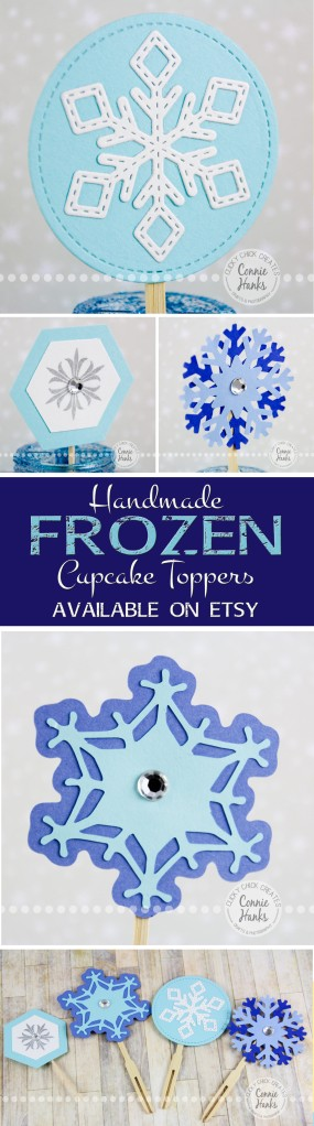 Connie Hanks Photography // ClickyChickCreates.com // Frozen, inspired, snowflake, cupcake, toppers, handmade, etsy