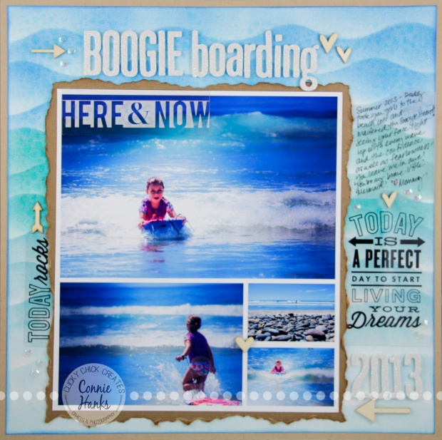 Connie Hanks Photography // ClickyChickCreates.com // Beach inspired scrapbook layout, blending, stencils, texture, embossing paste, distressing and more!