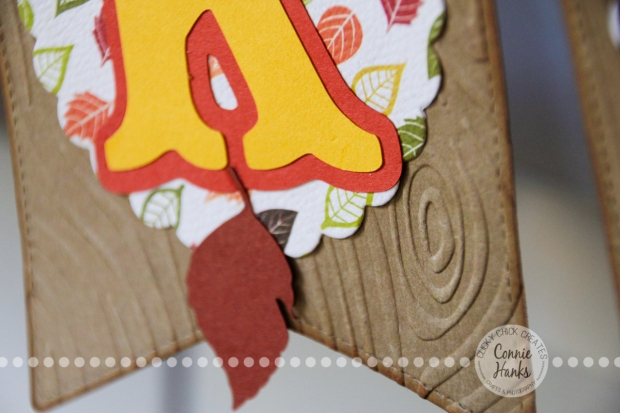 Connie Hanks Photography // ClickyChickCreates.com // give thanks fall banner thanksgiving, carta bella, autumn, leaves, leaf, lawn fawn, wood, grain, embossed, stitched party banners