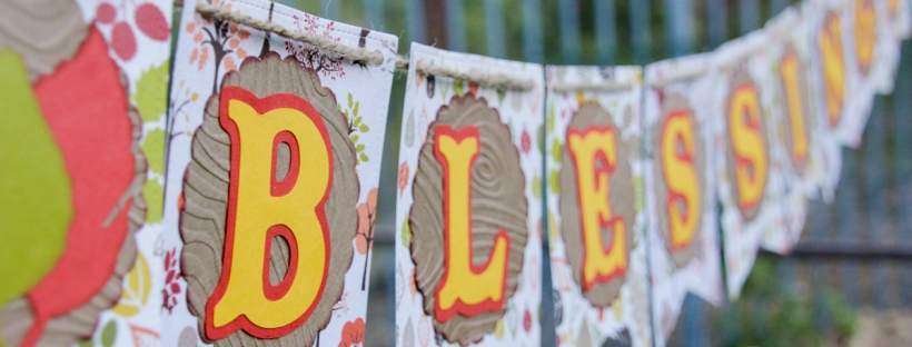 Connie Hanks Photography // ClickyChickCreates.com // blessings fall banner thanksgiving, carta bella, autumn, leaves, leaf, lawn fawn, wood, grain, embossed, stitched party banners