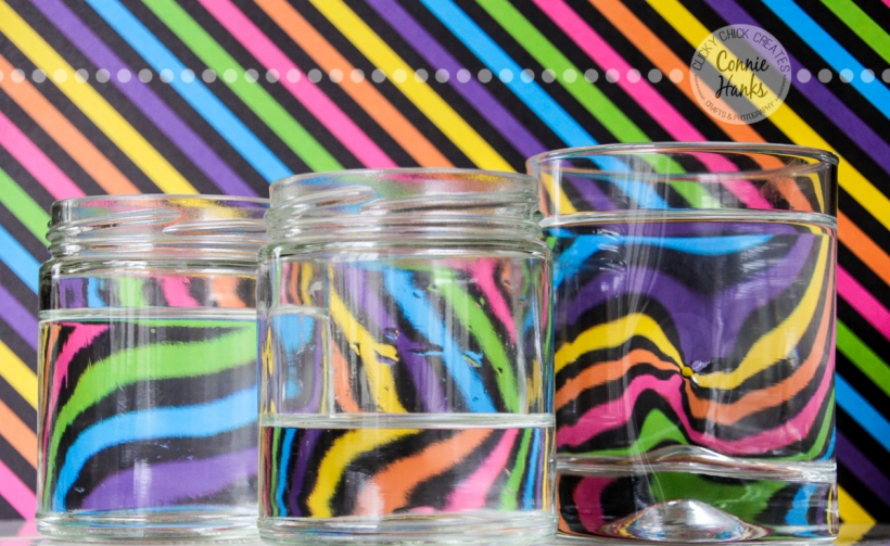 Connie Hanks Photography // ClickyChickCreates.com // refraction, water, glass, rainbow, pinwheel, stripes, colors, colorful